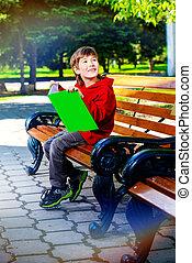 чтение, на, , скамейка