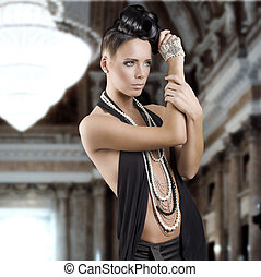 чувственный, девушка, with, jewellery, and, волосы, стиль