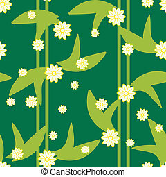 шаблон, бесшовный, дизайн, цветочный, зеленый, цветы