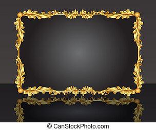 шаблон, золото, декоративный, лист, рамка