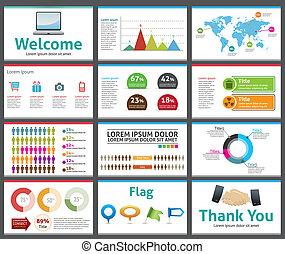шаблон, показать, горка, бизнес, презентация, -, вектор, редактируемые, дизайн, компания