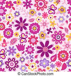 шаблон, цвет, цветок, бесшовный