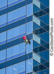 шайба, здание, оранжевый, синий, рубашка, окно