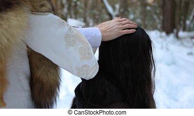 шаман, родной, целитель, зима, лесистая местность
