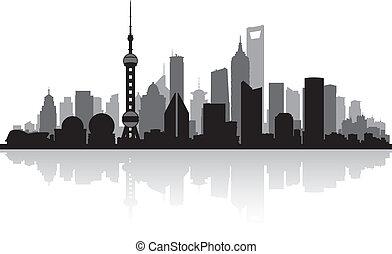 шанхай, китай, город, линия горизонта, силуэт