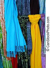 шарфы, несколько, streets, барселона, красочный
