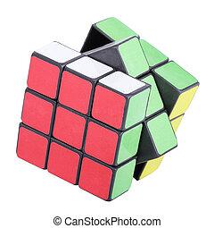 шесть, цвет, куб, головоломка, with, вырезка, дорожка