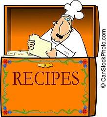 шеф-повар, коробка, рецепт