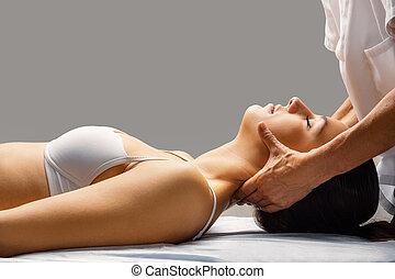 шея, patient., женский пол, терапия, чувствительный, физиотерапевт, молодой