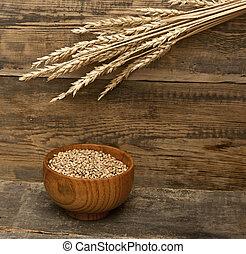 шип, текстура, задний план, дерево, ears, пшеница
