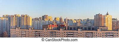 широкий, вечер, buildings, жилой, high-rise, панорама, посмотреть, sunset.
