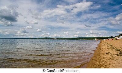 широкий, выстрел, динамический, сибирский, озеро, ассортимент, waves., береговая линия, сырье