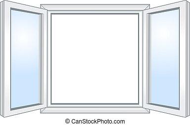 широкий, окно, открытый