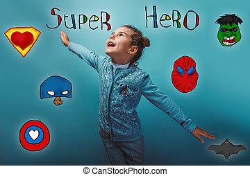 широкий, супер, his, супергерой, мощность, фото, arms, распространение, девушка, studo
