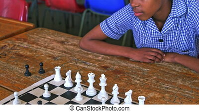 школа, шахматы, ломать, playing, городок, 4k, schoolgirls