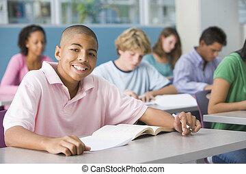 школьник, в, высокая, школа, класс