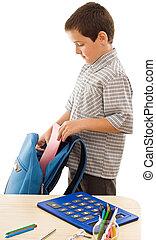 школьник, сдачи, упражнение, книга, в, , портфель
