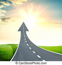 шоссе, дорога, собирается, вверх, в виде, an, стрела