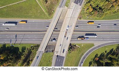 шоссе, пересечение, в, , usa