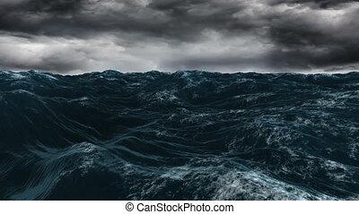 штормовой, синий, океан, под, темно, небо