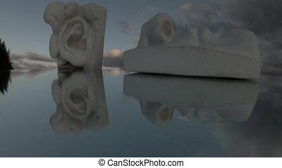 штукатурка, движение, clouds, бросать, fragments, глава, два, упущение, зеркало, время