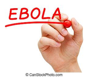 эбола, красный, маркер