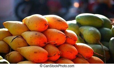 экзотический, market., продажа, улица, видео, азиатский, fruits