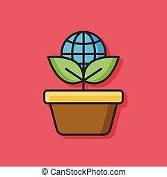экологический, вектор, растение, значок