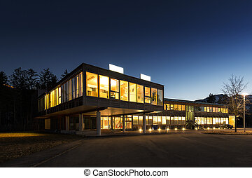 экологический, энергия, экономия, деревянный, офис, здание,...