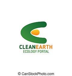 экология, е, чистый, вектор, портал, письмо, земля, значок