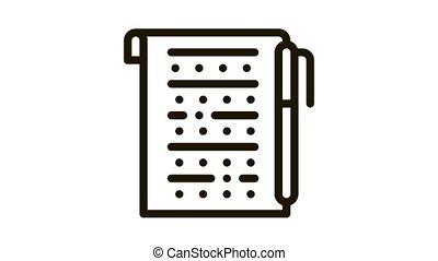 экспертиза, значок, лист, анимация, ручка