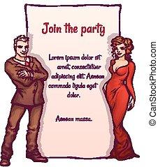 элегантный, вектор, вечеринка, иллюстрация, приглашение