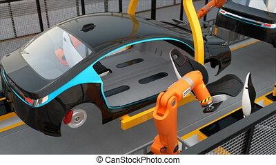электрический, автомобиль, сиденье, сборка, линия