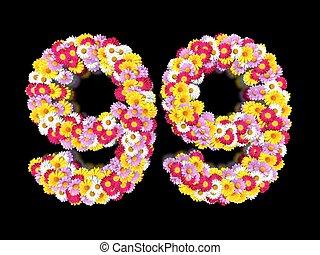 элемент, буквы, цветочный, marguerites, ninety-nine., номер, красочный, сделал, цветок