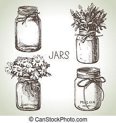 эскиз, деревенский, set., рука, дизайн, вничью, jars, консервирование, каменщик