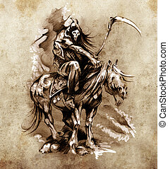 эскиз, of, тату, изобразительное искусство, средневековый,...