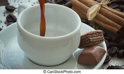являющийся, кофе, poured, кружка