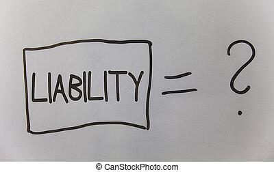 являющийся, фото, что нибудь, ответственность, вопрос, письмо, заметка, расчет, государство, ответ, legally, бизнес, показ, board., самолет, задний план, легкий, равный, liability., обязанность, showcasing, проблема