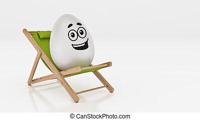 яйцо, with, прокладывать, вниз, на, лето, пляж, стул, isolated, на, белый, задний план, для, пасха, день отдыха, concept., 3d, оказание