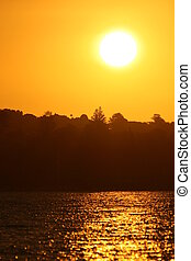яркий, желтый, закат солнца