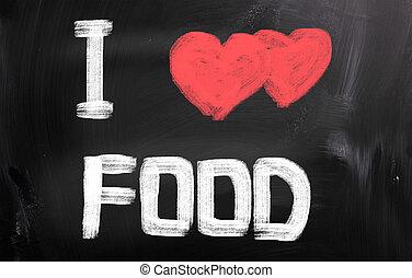 я, люблю, питание, концепция