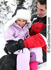 אבא, ילדה, השלג, לשחק
