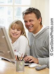 אבא, מחשב, ילדה, להשתמש