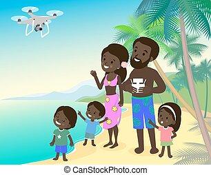 אבא, quadcopter, ילדים, אמא, משפחה, בחור, גדול, חופש, וקטור, אוקינוס, הודי, חוף ים, שלושה, ים, אפריקני, ילדה, זמזום, ילדים, ציור היתולי
