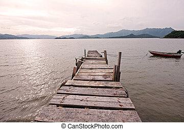 אגם, ישן, רציף, מעבר, שובר גלים