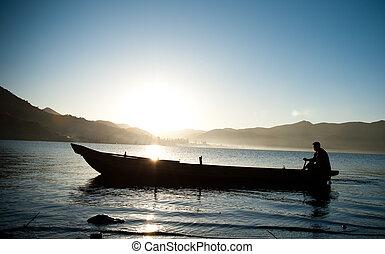 אגם, סירה, לדוג