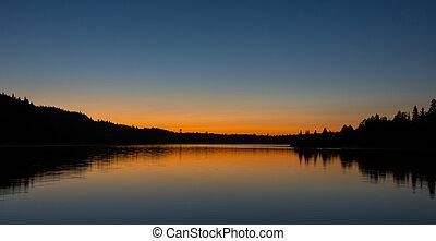 אגם, canoe-camping, שקיעה, במשך, שלנו, מעד