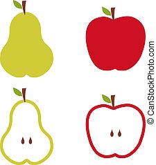 אגס, ו, תפוח עץ, תבנית, illustration.