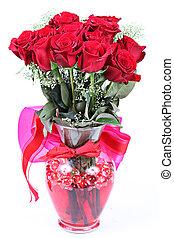 אגרטל, של, ורדים אדומים, ל, יום של ולנטיינים