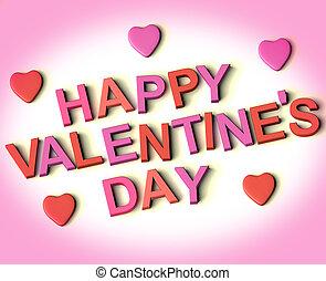 אדום, ו, ורוד, מכתבים, לאית, שמח, יום של ולנטיינים, עם, לבבות, כפי, סמל, ל, חגיגה, ו, ברכות